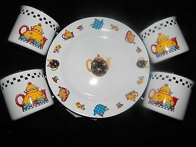 Mary Engelbreit Four Plates and Cups 'Teapots' Set - New - 2001