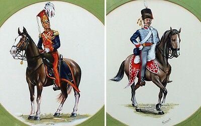 Pair of Watercolours 19th Century Cavalry Officers by Malcolm Greensmith