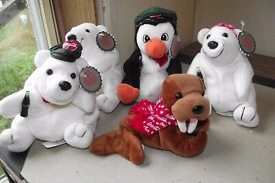 Lot Of 5 Coca Cola Plush Penguin Bears Walrus Caps Hats Scarves Ribbons Bow Tie