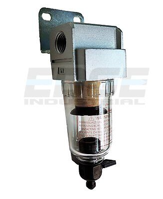 """Compressed Air In-Line Mini Particulate Filter / Water Trap, 1/4"""" Npt, 5 Micron"""