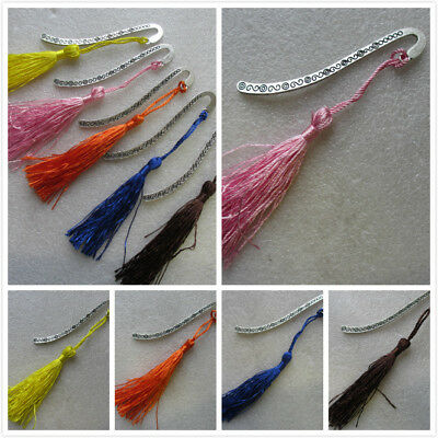 5 Bookmarks With Tassels Gift Tibetan Silver 8cm Assorted Colour Xmas Present