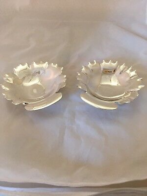 Pair Of P LOPEZ G STERLING SILVER MEXICO FOOTED DISH ASH TRAY SHELL LEAF SHAPE