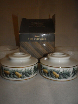 2-Avon 12 Days of Christmas 14K Gold Trim Candleholders-Partridge in A Pear Tree