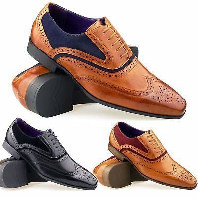New Mens Leather Brogues Italian Style Lace Up Shoes Smart Casual Form Size UK