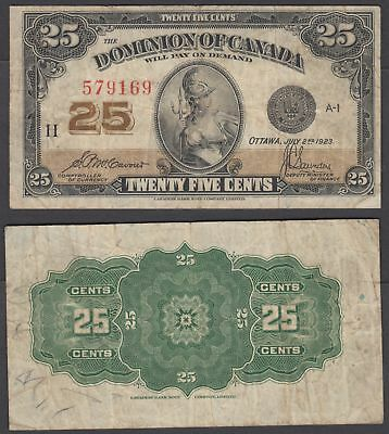 Canada 25 Cent 1923 (VF) Condition Banknote KM #11b