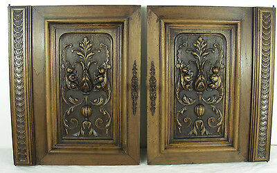 pair French antique door cabinet panel style renaissance Cornucopia