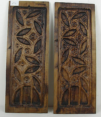 pair 19thC GOTHIC WOODEN OAK PANEL carved   n°4