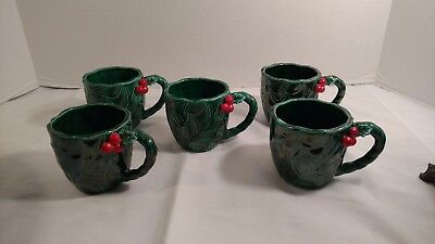 Lefton Green Holly Cups