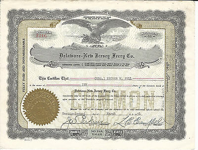 1951 DELAWARE NEW JERSEY Ferry Co Stock Certificate Delaware Memorial Bridge