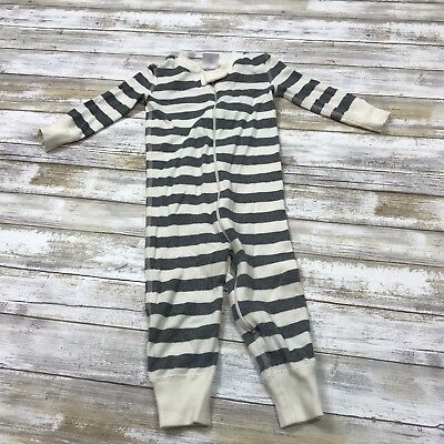 Hanna Andersson ~ Boys Sz 75 12-18 Month ~ Full Zip One Piece Pajamas ~ Striped