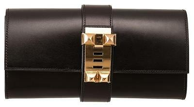 Hermes Medor Clutch - Black with gold hardware -  Authentic W/ Box