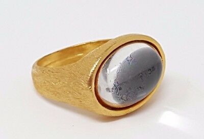 Vintage White Glass Jelly Belly Cabochon Gold tone Band Ring size 10