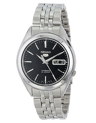 Seiko 5 SNKL23 Automatic Day-Date Black Dial Stainless Steel Mens Watch SNKL23K1