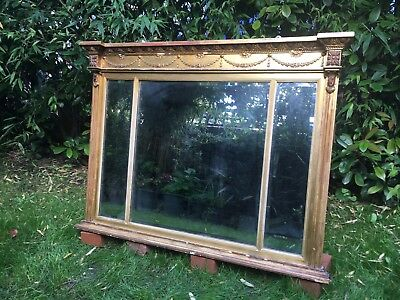 Antique 19th Century Gilt OverMantel Mirror Bevelled Three Dimensional Glass