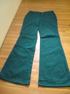Vintage Deadstock Bell Bottoms Green Cotton SZ 14 NOS Unbranded 70's