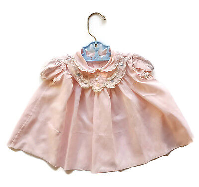 Vintage Baby Dress Pink Lace Mid Century Infant Reborn Newborn 6 month