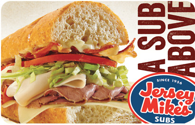 Jersey Mike's Gift Card - $25 $50 $100 - Email delivery