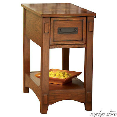 New End Table Storage Wooden Hand Crafted Antique Stand Rustic Side Chairside