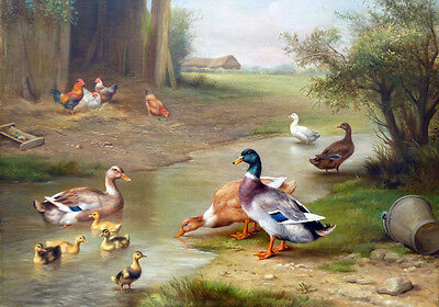 Painting Farm Country Landscape Chickens Ducks Chickens Quality Canvas Print