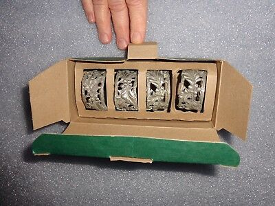 Longaberger American Holly Pewter Napkin Rings Set of 4 New in Original  box