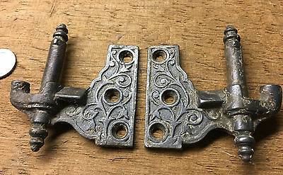 Pair of Old Eastlake TULIP shutter Hinges ~ Marked L2 & R2 ~cast iron hardware