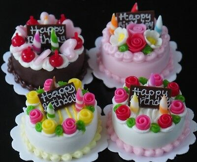 DOLLHOUSE MINIATURES FOOD 4 BIRTHDAY FRUIT CAKES WITH CANDLES Bakery SIZE 20 mm