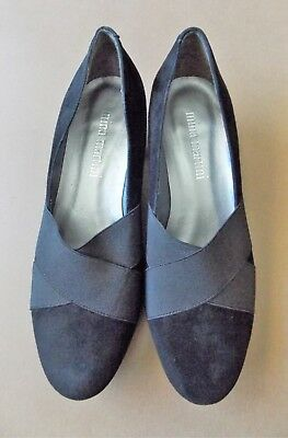 Immaculate Size 37 Nina Martini Black Suede Leather Women's Shoes