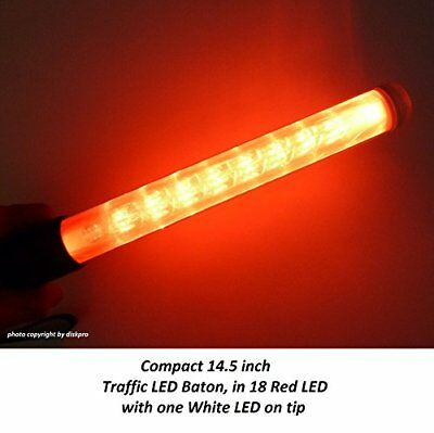 14.5 inch Red LED Traffic Safety Wand Flashlight. Featured 18 Red LED (two