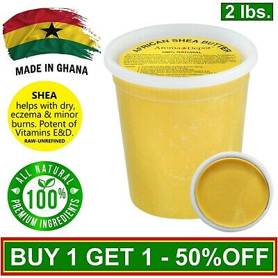 Raw African Shea Butter 2 Lb YELLOW From GHANA Natural Organic UNREFINED Pure