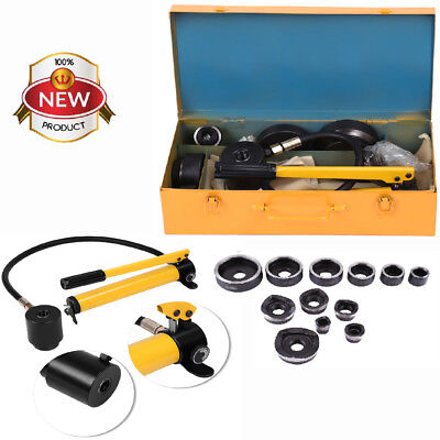 10 Dies 15Ton Hydraulic Knockout Punch Driver Kit Hand Pump Hole Tool Cutter Set