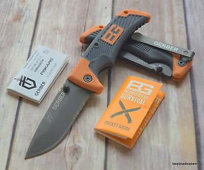7.30 Inch Overall Gerber Bear Grylls Lock-Back Folding Knife With Pocket Clip