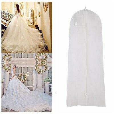 Wedding Dress Bridal Gown Garment Dustproof Breathable Cover Storage Bag White