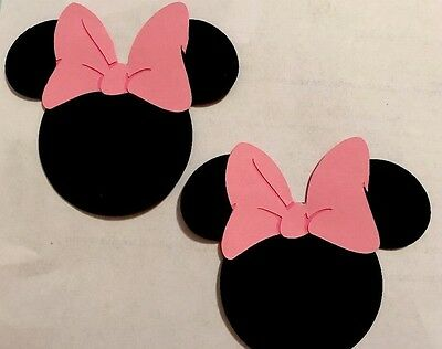 DISNEY Inspired Minnie Mouse Die Cut With Pink Bow Handmade With Card Stock