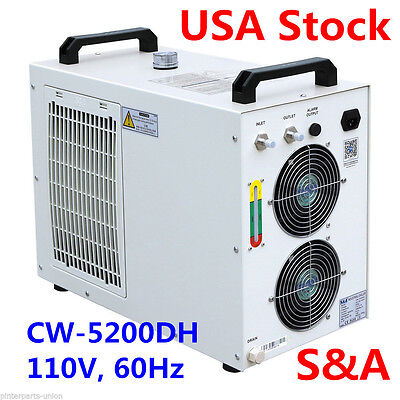 S&A 110V 60Hz CW-5200DH Industrial Water Chiller for One 130-150W CO2 Laser Tube