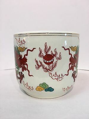 Chinese Incense Buner Vintage Medium  Porcelain With 2 Dragons Facing Each Other