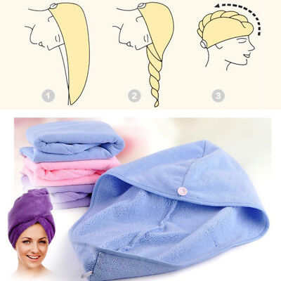 Soft Cotton Quick Hair Drying Towel Turban Twist Wrap Loop Button Hat Cap Terry