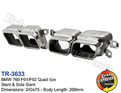 Exhaust tips tailpipe trims Quad tips for BMW 760 F01 F02