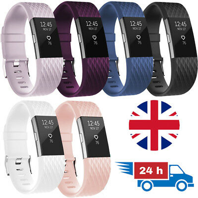 LUXURY Soft Rubber Watch Strap for Fitbit Charge 2 Replacement Band Silicone