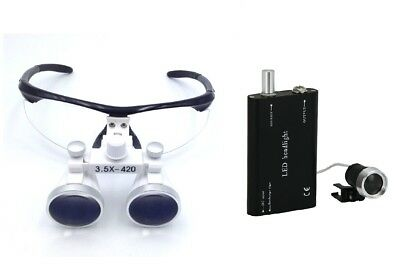 Dental Surgical Binocular Loupes 3.5X420mm Optical Glass + LED Headlight Black
