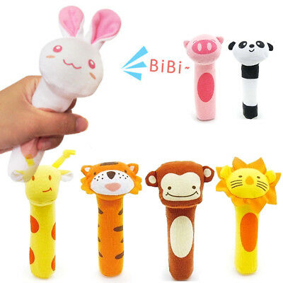 1PC Newborn Baby Soft Sound Animal Handbells Plush Squeeze Rattle Fantastic Toy