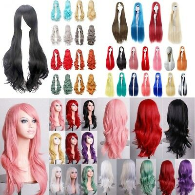 Women Long Straight Curly Wavy Cosplay Full Wig Fancy Costume Party Hair Wigs