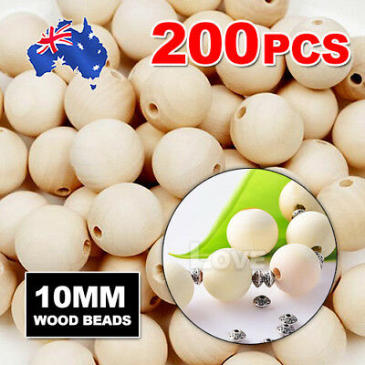200pcs 10mm  Wooden Beads Natural Color Round Ball Wood Speacer Beads
