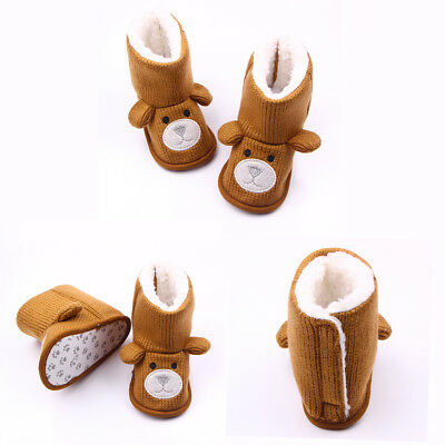 Newborn Baby Infant Boys Girls Knit Toddler Booties Soft Fleece Crib Shoes Bear