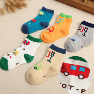 5 Pack Boy Girl Children's Kids Cartoon/Striped/Floral Soft Cotton Socks 1-12T