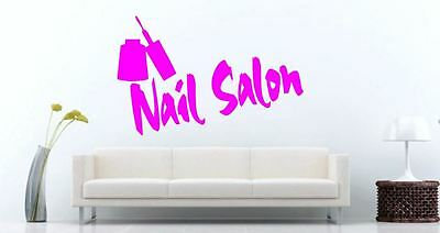 Nail Salon with Nail Varnish Bottle Pink Vinyl wall art Decal Sticker