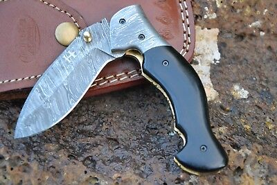 "HUNTEX Handmade Damascus 4.3"" Long Buffalo Horn Hunting Folding Pocket Knife"