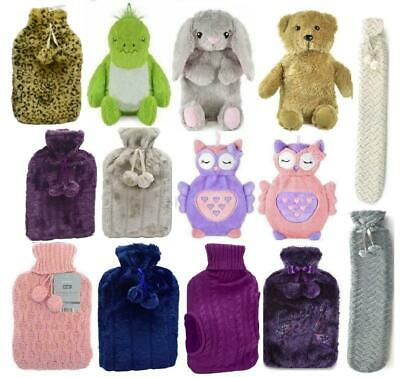 750ml /2L Kids Adults Deluxe Embroidered Hot Water Bottle Plush Faux Fur Cover