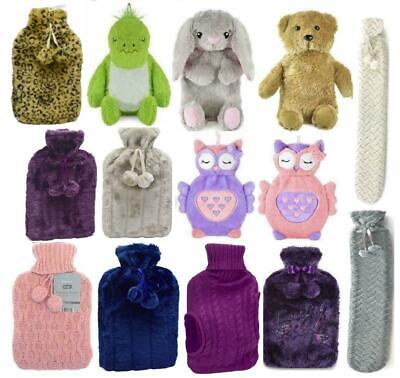 Large 2 litre Deluxe Embroidered Hot Water Bottle Plush Faux Fur Fleece Cover