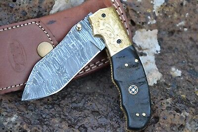 "HUNTEX Handmade Damascus 4.5"" Long Buffalo Horn Hunting Folding Pocket Knife"
