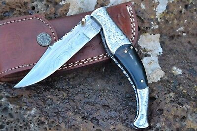 "HUNTEX Handmade Damascus 5"" Long Buffalo Horn Hunting Folding Pocket Knife"